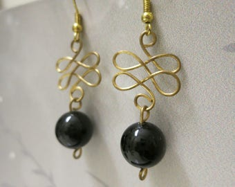 Jet Stone Knot Earrings **SALE PRICE**