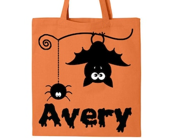 Personalized Halloween Trick or Treat Bag- Bat and Spider