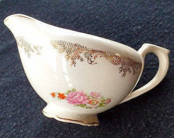 Unmarked Vintage Ceramic Gravy Boat or Creamer, Gold Filigree and Flowers, Shabby Chic Housewares, Serving Items, Sauce Boat, Servingware