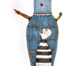 """Title: """"S-C-R-E-A-M!""""  3-D ceramic sculpture, 20.5"""" x 10"""" x 5"""""""