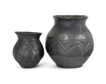 Pair South American Black Pottery Herb Jars or Medicine Containers Handmade and Signed OOAK