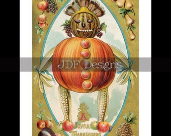 Instant Digital Download Vintage Graphic Antique Thanksgiving Postcard Harvest Pumpkin Man Fruit