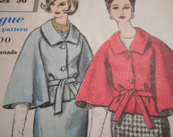 Vintage 1960's Vogue 4192 Special Design Cape Suit and Blouse Sewing Pattern Size 14 Bust 34