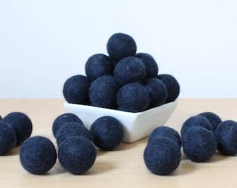 Felt Balls: MIDNIGHT BLUE, Felted Balls, DIY Garland Kit, Wool Felt Balls, Felt Pom Pom, Handmade Felt Balls, Blue Felt Balls, Blue Pom Poms