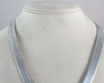 "Vintage Solid Sterling Silver Herringbone 10mm Thick Chain Necklace 42g 20"" Italy PR"