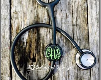 Stethoscope ID Tag, Stethoscope Name Tag, Monogram, Stethoscope ID, Stethoscope Accessories
