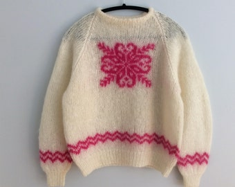 Vintage 80s Mohair Sweater White Pink Snowflake Handmade Knitted Christmas Jumper S-M