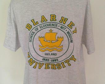 Vintage Blarney University 1992 Ireland Tshirt