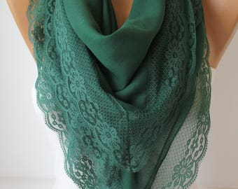 Emerald Lace Shawl Scarf Cotton Scarf Lace Shawl Scarf Square Summer Scarf Bridal Wedding Fashion Women Accessories