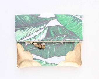 Palm clutch bag. Fold over clutch. Leather handbag. Statement purse. Tropical print fabric. Metallic gold leather handbag /TROPICANA 22