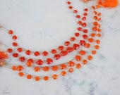 6-9mm Carnelian Pentagon faceted briolettes. orange gemstones. Full strand