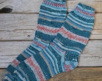 Hand Knitted Wool Socks -Colorful Socks for Women - Size Medium-USA W 6,5- W 7 ,EU 37-38