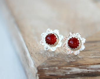 Sterling Silver Flower Stud Earrings Carnelian Floral Post Earrings Artisan Nature Jewelry Small Daisy Studs