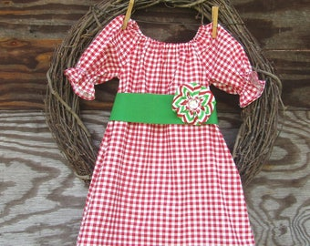 Girls Christmas Dress, Girls Holiday Dress,  Girls Red Dress,  Red Gingham Dress, Party Dress
