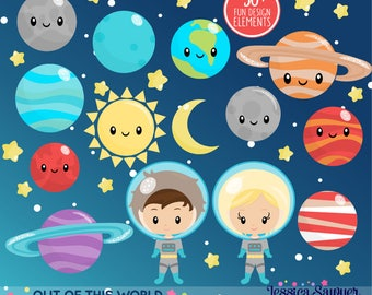 INSTANT DOWNLOAD - Space Clipart or Astronaut Clip art