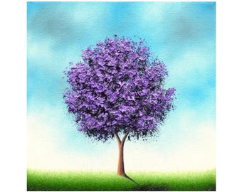Purple Tree Art Print, Giclee Print of Lavender Tree Painting, Whimsical Art Print, Contemporary Modern Art, Home Decor, Pastel Wall Art