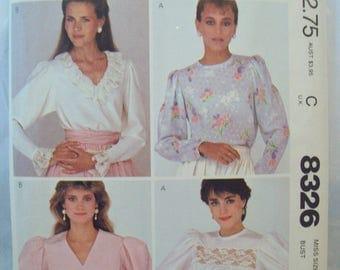 Vintage 1980s Pullover Blouse Pattern McCalls 8326 Size 12 Bust 34 Cut Pattern