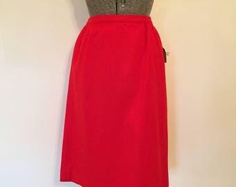 "Vintage Pendleton Pencil Skirt / 30"" Waist / Cherry Red Pencil Skirt"
