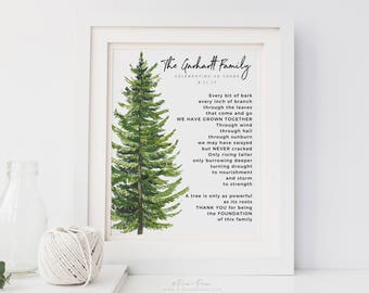 30th 40th 50th Wedding Anniversary Gift - Personalized Gift for Parents - Family Tree Art Print Poem - Wedding Grandparent Gift - UNFRAMED