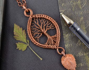 Woodland Tree-Of-Life Necklace Copper pendant Wire Wrapped Jewelry Family Tree Rustic Botanical jewelry Leaf Elfin Pendant Forest Necklace