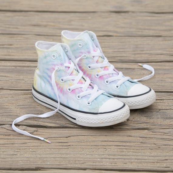 Children's Kids Converse Toddler Youth Canvas Tie Dye Rainbow Low Top w/ Swarovski Crystal Rhinestone Chuck Taylor All Star Sneaker Shoe