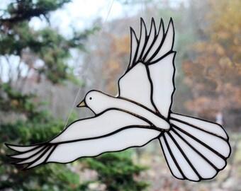 Stained Glass White Dove Bird Large Suncatcher, Peace Dove, Memorial Dove, Wedding Dove, Glass Art, Wildlife Art, Bird Lovers Gift