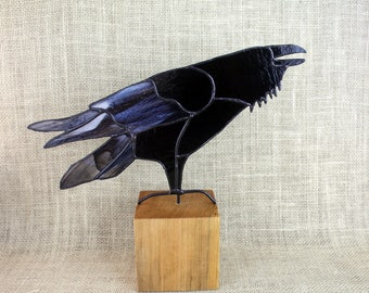 Stained Glass Raven Bird Sculpture , Stained Glass Bird, Raven Art, Gothic, Raven Art, Crow Art, Glass Art, Wildlife Art, Bird Lovers Gift