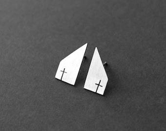 Sterling Silver Cross Earrings - Church Earrings - Christian Jewelry - Cross Jewelry - Silver Cross Earrings