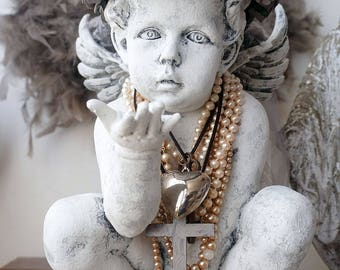 Cherub angel statue handmade rose crown French farmhouse angelic lg wings figure embellished ornate French Nordic decor anita spero design