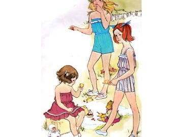 """Simplicity 9407 Girl Two-Piece Summer Two-Piece Dress and Playsuit, Shorts, Skirt, Top Sewing Pattern Size 5 Chest 21.5""""/55cm Vintage 1980s"""