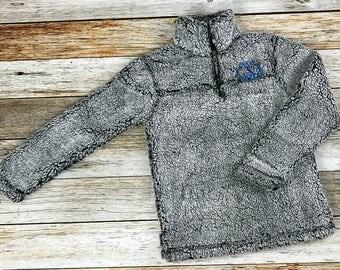 Womens Monogrammed Fleece Coat, Monogrammed Pullover, Fleece Sherpa Coat, Personalized Fleece Coat, Personalized Fleece Jacket, Quarter Zip