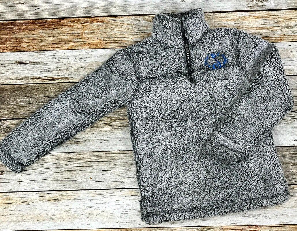womens monogrammed fleece coat  monogrammed pullover  fleece sherpa coat  personalized fleece
