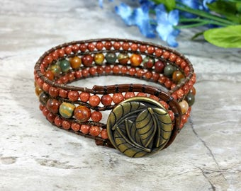Autumn Colors Beaded Leather Wrap, Leather Cuff Bracelet Beaded, Earthy Leather Beaded Cuff Bracelet for Women, For Her, Gift