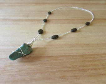 Wire Wrapped Chrysocolla and Rainforest Jasper Necklace