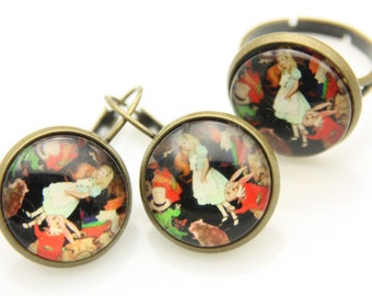 SET earrings and ring alice 1616