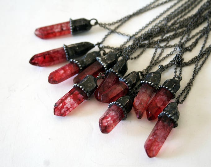 Small Long Red Quartz Crystal Necklace