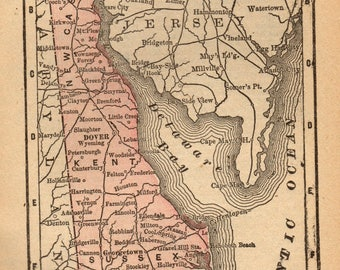Delaware Map Etsy - Map of delaware