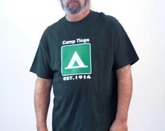 90s Camp Tioga T-shirt, Forest Green Tshirt, Summer Camp Tshirt, Pennsylvania Camp Tshirt, Vintage Camp Tshirt, XL, Extra Large