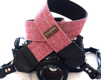 Red Essex Linen Camera Strap with Side Release Buckles and Leather Ends -- 1.5 inches wide