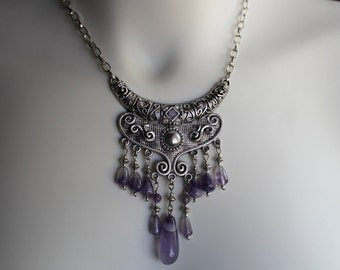 Handcrafted statement necklace featuring real amethyst semi precious stones. Purple, unique, gift, exotic, OOAK