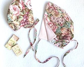 6-12 and 18-24 months, Reversible Cotton/Flannel Bonnet