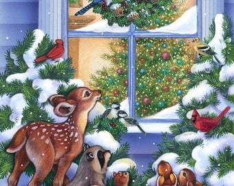 Magic of Christmas panel by Northcott. Winter scene. Forest animals.