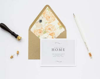 Classic Moving Announcement, Printable Address Card, We've Moved New Home, Newlywed or Engagement Gift, Housewarming, Printed Invites or DIY