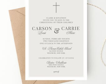 Twins Baptism Christening Invite Classic Announcement Baby Dedication Holy Communion Baptism Invitation Multiples Christening Print Digital