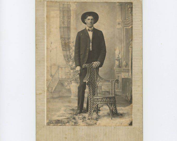 Antique Cabinet Card Photo: Young Man with Cigar, Moore Studio, Kirksville, MO (76587)