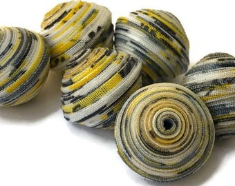 Textile Beads, Fabric Beads, Large and Chunky Beads, Gray, Grey, Yellow, White, Black Speckled Beads, Diamond Double Bicone Unique Beads