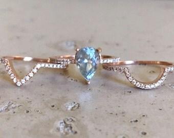 Pear Shape Aquamarine Engagement Ring Set with 2 Matching Bands-Rose Gold Aquamarine with Diamond Bridal Set-Genuine Natural Aquamarine Ring