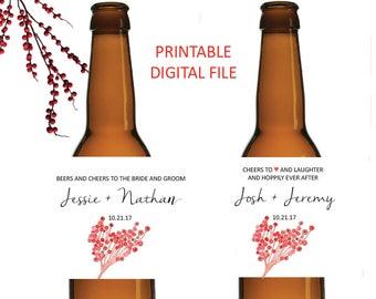 Berry Wedding Beer Label - Wedding Beer Label - Wedding Brew - Wedding Decor - Beer Labels - Rustic  Wedding Label - Beer Wedding Favors