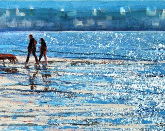 """Painting of Brittany - BRETAGNE FRANCE - """"Early morning walk, Brittany"""" by Melanie McDonald - couple on beach - Brittany France - Locquirec"""
