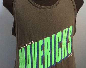 90s Vintage Dallas Mavericks Mavs nba basketball sleeveless tank top T-Shirt - MEDIUM